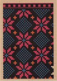 Using a combination of two patterns in one working together to create an illusion Designer Knitting Patterns, Tapestry Crochet Patterns, Loom Patterns, Knitting Designs, Cross Stitch Embroidery, Cross Stitch Patterns, Mochila Crochet, Tapestry Bag, Mittens Pattern