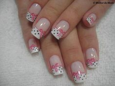 white french manicure - polka dots - bows - pink - nail art