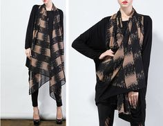 women fashion clothing - black blouse and Scarve