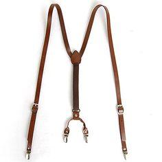 Mens Leather Suspenders Y Back Retro Braces Clip on Brown   eBay