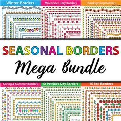 Take a look at this huge collection of 404fun and colorful seasonal Bordersand Frames, Border Paper (133 color, 121 color with black stroke, 150 black and white)that will look amazing on your seasonal resources and will make any page pop.All of these colorful borders are saved in PNG format (300 DPI, 8.5 in x 11 in).with transparent background so they can be easily placed on any page.Purchase this BUNDLE and SAVE more than 40% off each product!