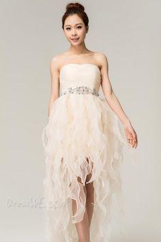 Dresswe.com SUPPLIES Fresh A-line Strapless Asymmetry Cocktail/Homecoming Dress Junior Prom Dresses