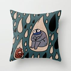 Rain Throw Pillow by frogandfly - $20.00