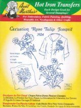 Carnation Rose Tulip Jonquil Aunt Martha's Hot Iron Embroidery Transfer