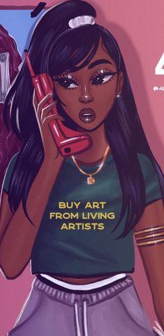 Black Girl Cartoon, Dope Cartoon Art, Black Girl Art, Black Women Art, Beautiful Black Women, Black Girl Magic, Art Girl, Drawings Of Black Girls, Black Art Pictures