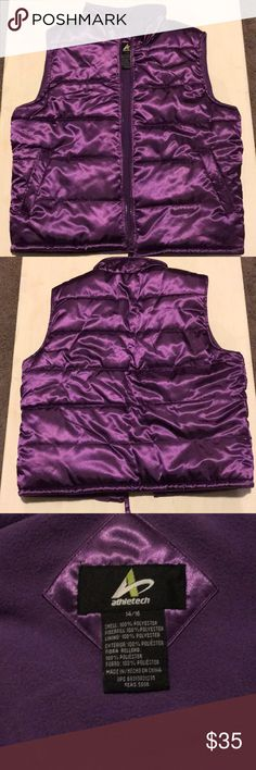 Purple Puffer vest Purple also known as the color of royalty Puffer Vest. Pristine condition  Size 14/16 Athletech Jackets & Coats Puffers