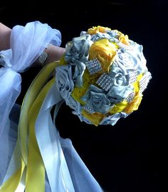 Satin  wedding bouquet  Yellow love  hair ornament by wandadesign, €140.00