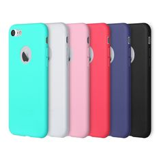 iPhone 7 Case, Pofesun 6 Pack Soft Flexible Silicone Gel Rubber Shockproof Case Cover for iPhone 7 (4.7 Inch) (2016) (Black,White,Pink,Red,Green,Royal Blue). 6 COLORFUL CASES: A great set of 6pcs iPhone 7 cases included in package, and all come with diffe