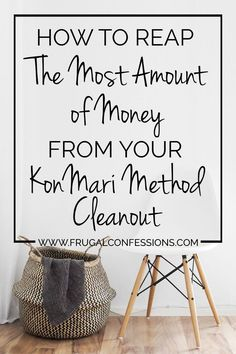 Always looking at things with a money slant, the one thing I couldn't help but notice was the author's eagerness to have her clients toss out all of those belongings in trash bags. Here are some of the things I did which helped me make money from my pre-owned things. | http://www.frugalconfessions.com/extra-cash/reap-amount-money-konmari-method-cleanout.php