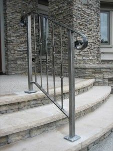 Exterior Wrought Iron Stair Railing Kits Porch Image Of Railings Metal Intended Stair Railing Ideas Exterior Image Intended iron Kits Metal porch railing Railings stair Wrought Porch Step Railing, Exterior Stair Railing, Stair Railing Kits, Outdoor Stair Railing, Porch Stairs, Front Stairs, Railing Ideas, Hand Railing, Diy Stair