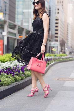 Luv the coral with the black dress.