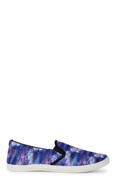 Deb Shops Flat Slip On Shoe with Elastic and Galaxy Print $10.80