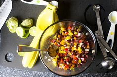 bell peppers, black beans, jalapeno, white onion by smitten, via Flickr
