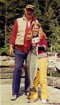 A WHOPPER OF A FISH - John Wayne & his daughter
