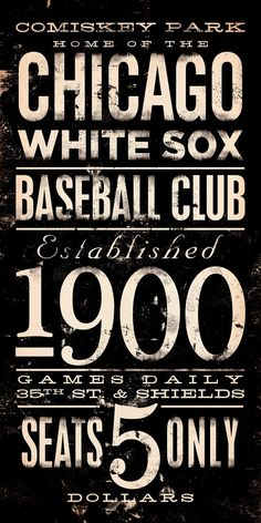 Chicago White Sox baseball club typography graphic art  on canvas 10 x 20. $89.00, via Etsy.