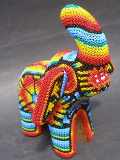mexican Folk Art | Huichol Wood Elephant