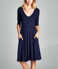 Look at this #zulilyfind! Navy V-Neck Pocket Fit & Flare Dress #zulilyfinds