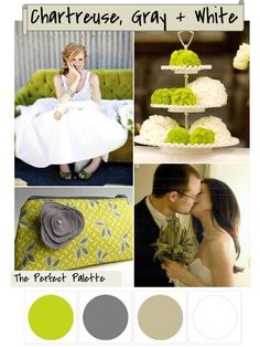The Perfect Palette: {Color Your Wedding Beautiful}: Chartreuse, Gray + White