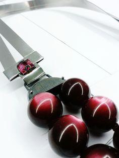 Light echo, necklace steel , oxidized silver, rose quartz, spheres resin#ZERO43