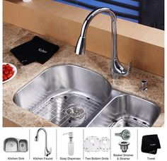 """Kraus KBU23-KPF1621-KSD30 31-1/2"""" Undermount 60/40 Double Bowl 16 Gauge Stainless Steel Kitchen Sink with Pullout Spray Kitchen Faucet and Soap Dispenser"""