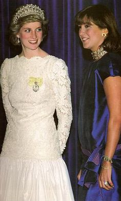 Princess Diana out on the town wearing the Vladimir Tiara with the Pearls.