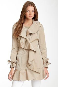 Cole Haan | Front Ruffle Trench Coat