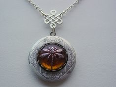 Czech Glass Amber Dragonfly Antique Silver Etched Locket With Celtic Knot Drop Chain Dragonfly On Amber Necklace