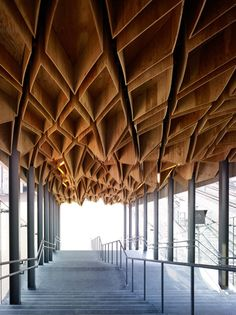 Hōshakuji Station, Takanezawa, Tochigi Prefecture, Japan. By Kengo Kuma & Associates. Partially constructed from made from re-used Oya stone. Completed 2006