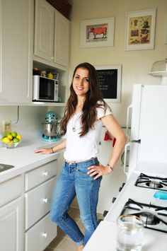 I like what she did for pot and pan storage in the kitchen and how she stored her clothes (maybe without a closet?).