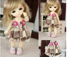 Khaki Grid Strap Skirt for Lati Yellow Doll, Lati Yellow Doll Strap Skirt with Two Pink Flower Buttons Clothes, Lati Doll Sleeveless Dresses op Etsy, 19,00€