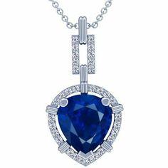Platinum Pear Cut Blue Sapphire And Round Diamond Pendant GemsNY. $19378.00. Save 50% Off!