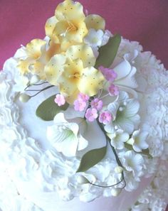 Gum-Paste-Sugar-Flowers-Orchid-Lilies-Cake-Decorating-White-Yellow-Flowers