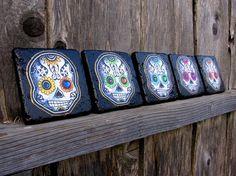 Items similar to Day of the Dead Tile coaster set sugar skulls Mexican folk art decor dia de los muertos halloween in rainbow colors on Etsy Sugar Skull Decor, Sugar Skull Design, Sugar Skulls, Tile Coasters, Drink Coasters, Dream Bath, Skull Fashion, Kitchen Themes, Mexican Folk Art