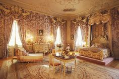 """Marble House   Alva's Bedroom. William K. Vanderbilt built this Newport, RI, """"Cottage"""" as a 39th Birthday present for his wife Alva Erskine Smith. She was almost soley responsible for ensuring the Vanderbilt family was recognized among New York's Social Elite (Mrs. Astor's '400 List')."""