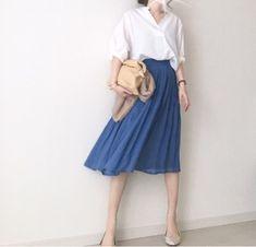 【coordinate】意外と合わせやすいブルースカート Umy's プチプラmixで大人のキレイめファッション