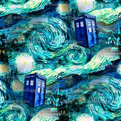 Doctor Who Inspired Starry Night TARDIS Fabric