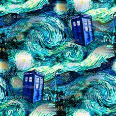 Doctor Who Inspired Starry Night TARDIS Fabric
