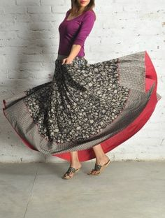 BW Block Print Kalidar Cotton Skirt - by Folksy Nomad