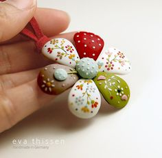 Patchwork flower. Whimsical handmade polymer clay by EvaThissen