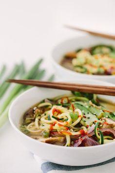 Spiralized Vegan Ramen Soup with Zucchini Noodles Recipe