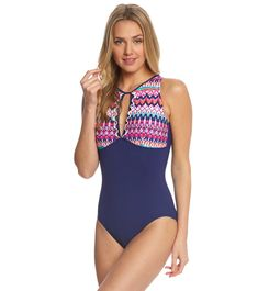 77c81d05e3 Profile by Gottex Tequila High Neck One Piece Swimsuit at SwimOutlet.com - Free  Shipping