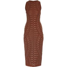 Balmain Spine intarsia-knit dress (£1,130) ❤ liked on Polyvore featuring dresses, brown, knit midi dress, holiday party dresses, bodycon party dresses, body con dress and bodycon midi dress