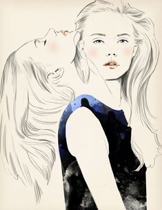 geminis for Elle Horoscope by Sandra Suy - Pencil, Watercolor illustration. Fashion, Beauty