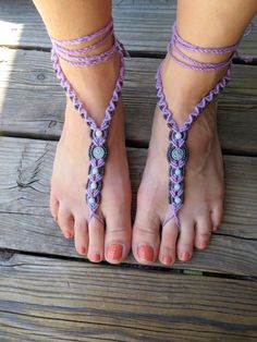Barefoot Sandals Om Ohm - Hemp Macrame with Amazonite Clay Om and Glass Accents - Pair - Hippie Bohemian Natural