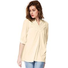 Half Sleeve Lace Splicing Blouse - LIGHT YELLOW ONE SIZE