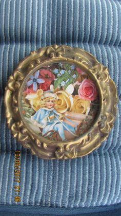 Antique Look Highly Ornate Small Gold Gesso Style Framed Victorian Girl On Sled Among Cabbage Roses Print Round Syroco Picture Frame by treasuretrovemarket on Etsy