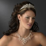 Dramatic Freshwater Pearl and Crystal Wedding Tiara And Jewelry Set