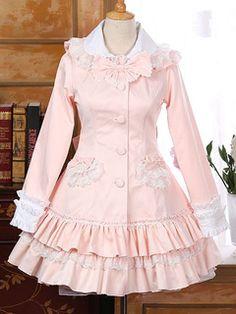 Chaquetas de Lolita de algodón rosa Encapuchadas con manga larga de dos tonos con volante fruncido