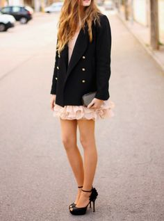 black blazer and heels coral dress. Street elegant women fashion outfit clothing style apparel @roressclothes closet ideas