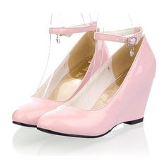 Pink Faux Patent Leather Buckle Strap Stylish Wedges ($14) ❤ liked on Polyvore featuring shoes, pink, wedge heel shoes, pink shoes, wedges shoes and pink wedge shoes